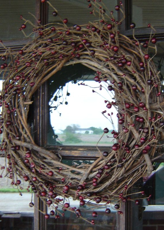 Grapevine Wreath with Large and Small Burgundy Berries