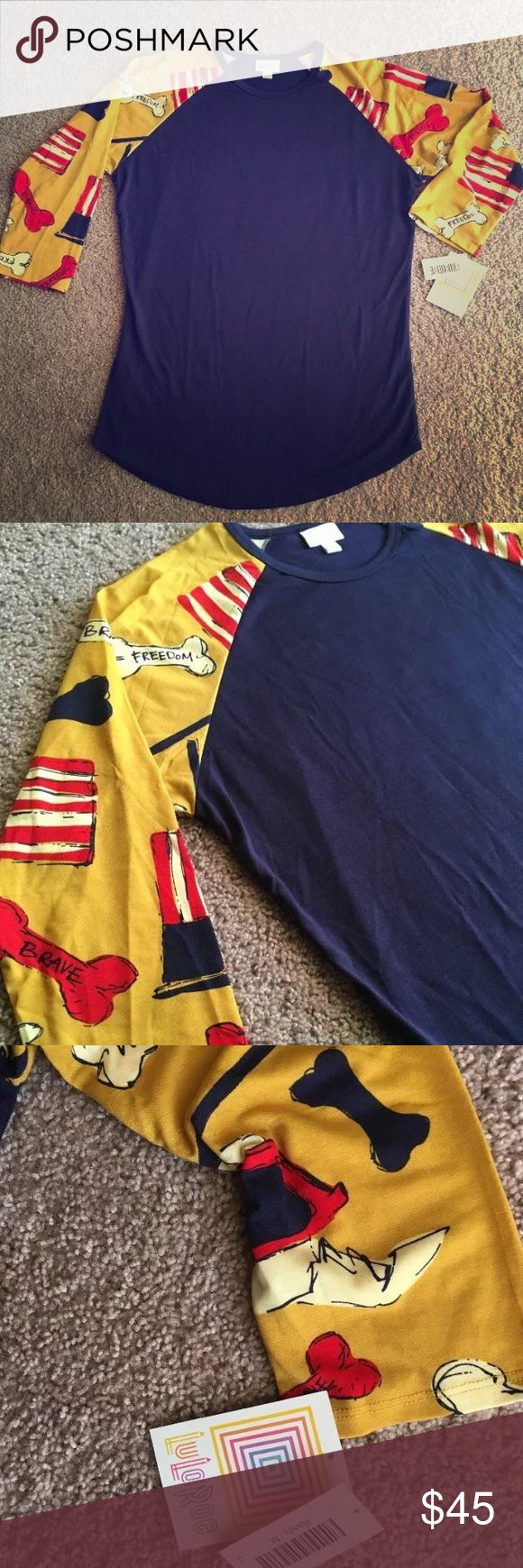 Lularoe Americana Bulldogs Bones Flags M Randy Super Hard to find print!! Shirt is new with tags. Super adorable print. Purchase today for me to ship today so you can get in time for the holiday! Would be cute to wear all year round. Comes from a clean and smoke free home. LuLaRoe Tops Tees - Long Sleeve