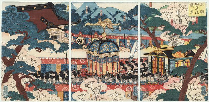 View of the Palace and the Kamo Shrine, 1863 by Yoshitsuya (1822 - 1866)