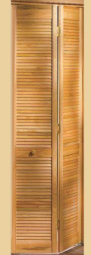 Full Louvered Hardwood Unfinished 2 Leaf Bi Fold Door 24