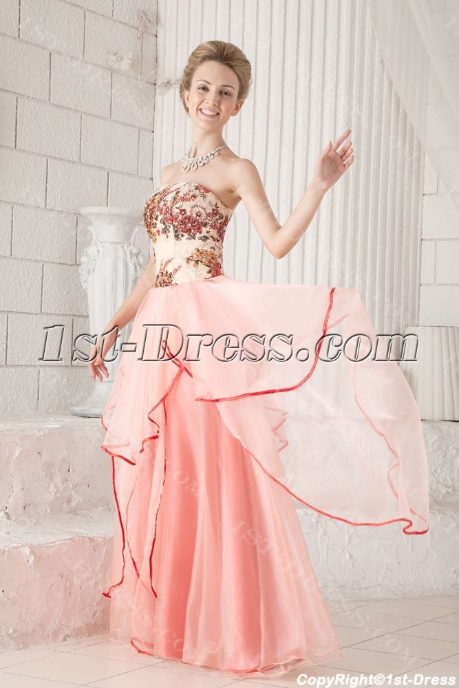 Coral Long Strapless Colorful Quinceanera Dress Cheap:1st-dress.com