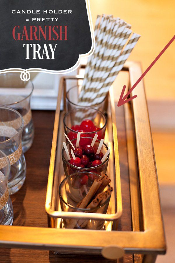 creative drink garnish tray made from a candle holder bar cart party tray
