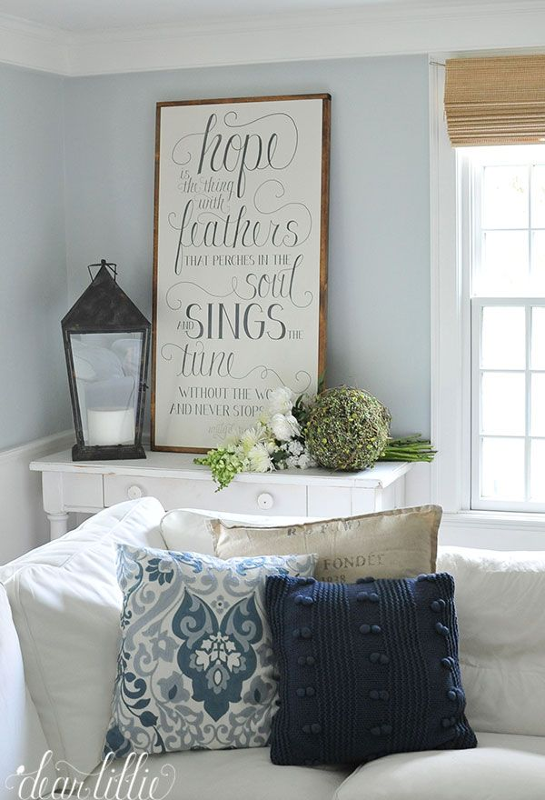 "Dear Lillie: ""Hope Is The Thing With Feathers..."" Emily Dickinson Sign. Benjamin Moore Pale Smoke walls."