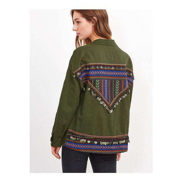 SheIn(sheinside) Olive Green Utility Jacket With Embroidered Tape And... ($35) ❤ liked on Polyvore featuring outerwear, jackets, green, olive jacket, army green jackets, green utility jacket, olive utility jacket and zip jacket