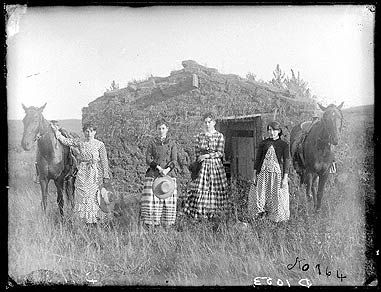 American frontier: The Chrisman Sisters on a claim in Goheen settlement on Lieban (Lillian) Creek, Custer County, 1886  Daughters of ranchman Joseph M. Chrisman, left to right: Harriet, Elizabeth, Lucie and Ruth.: Sod Houses, Except, Lieban Lillian, Chrisman Sisters, Goheen Settlement, Custer County, Photo, Nebraska, Wild West