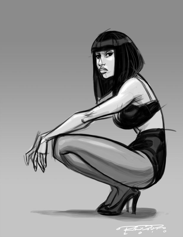 It's a sketch from Nicki Minaj's Complex photoshoot, and from my favorite photo actually. I named this one 'Nikita'. She looks like some sort of assassin, and I can just see a Katana sword being loosely held there in here lazed hands.