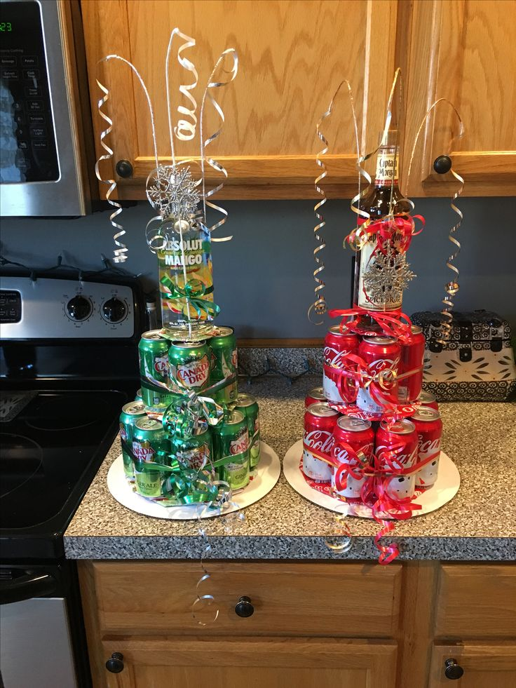 Soda/liquor cake tower- ginger ale with absolute and coke with captain Morgan