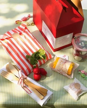 Red gable boxes can hold pre-packed lunches for your Teddy Bear Picnic Birthday Party! Less work at the park! ;)