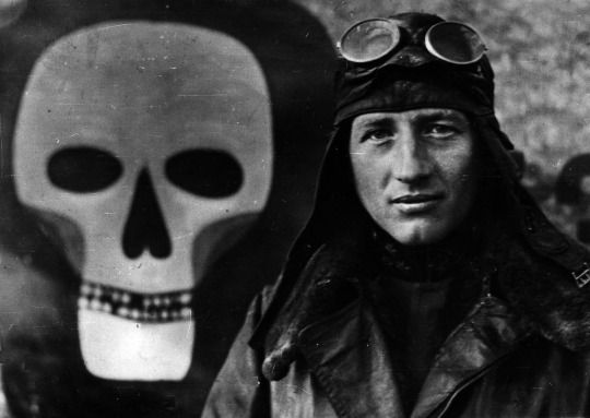 Austro-Hungarian fighter ace Godwin von Brumowski. The skull emblem is on his Albatros D.III aircraft. With at least 35 victories, he was the Dual Monarchy's top pilot of the Great War. He survived the conflict but took the breakup of the empire poorly, finding little success and turning to dangerous hobbies and raucous partying. He died in 1936 in a plane crash in the Netherlands, aged 46.