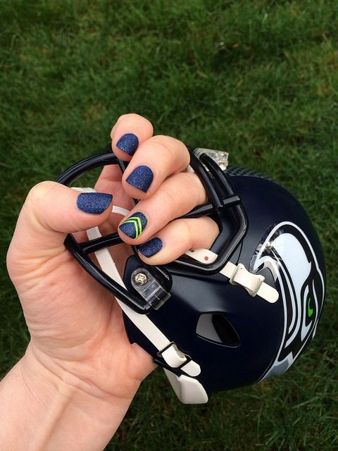 My Seahawks nails: Zoya Sunshine (Pixie Dust textured polish) + American Apparel Neon Green #seahawks #seattle #superbowl #nails