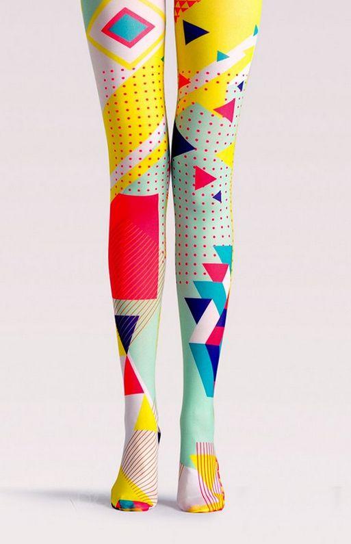 geometric pattern neon color block pop art tights