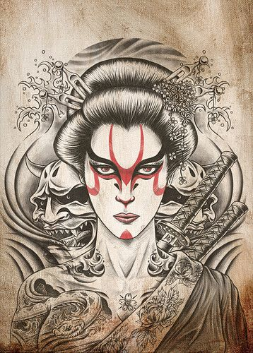Samurai Geisha Tattoo Art