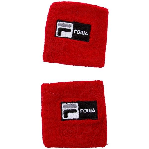 Pre-owned Gosha Rubchinskiy x Fila Logo Sweat Bands ($50) ❤ liked on Polyvore featuring men's fashion, men's jewelry, men's rings, red, mens watches jewelry, mens rings and mens band rings