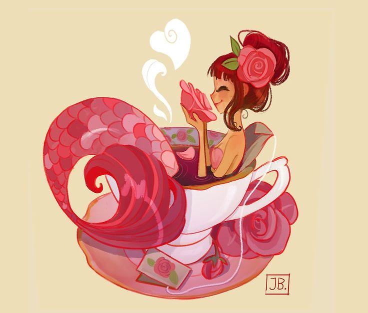 Tea Mermaid design on RedBubble <3 by Julia Blattman. Want!