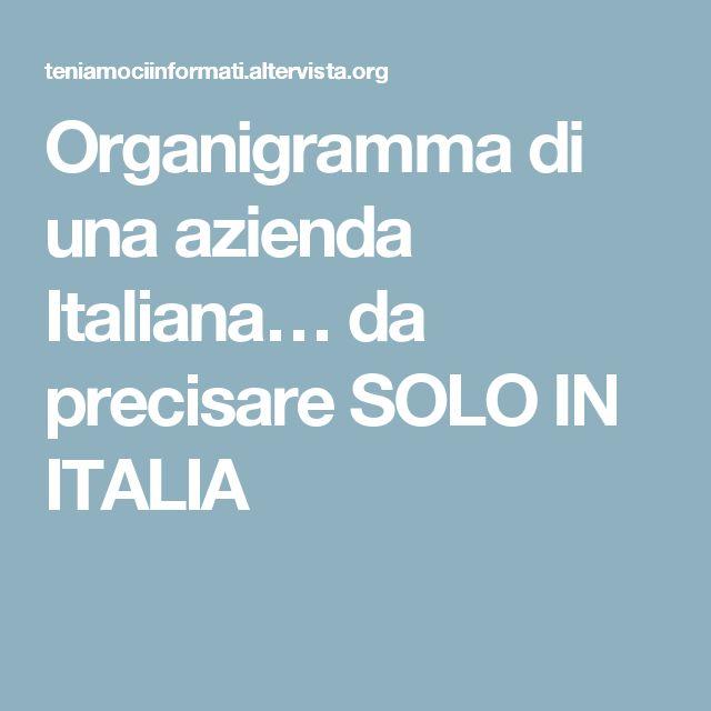Organigramma di una azienda Italiana… da precisare SOLO IN ITALIA