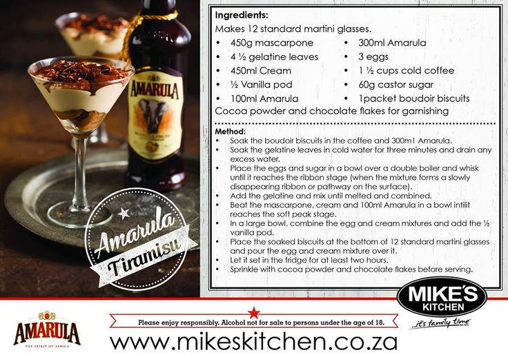 From our #recipe book : Learn how to make a Mike's Kitchen delicious Amarula Tiramisu, a #dessert perfect after a great meal.  Easy yet delicious...