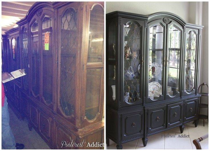 Black China Cabinet before and after