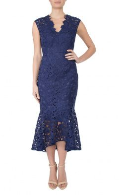 Indigo Guipure Lace Dress