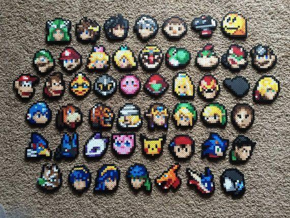 Super Smash Bros. Perler Bead Sprite - Stock Icon (CHOOSE ONE)