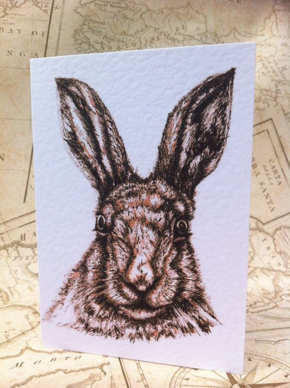 Hare Card A6 Greeting Card Greetings card animal by RosehartStudio