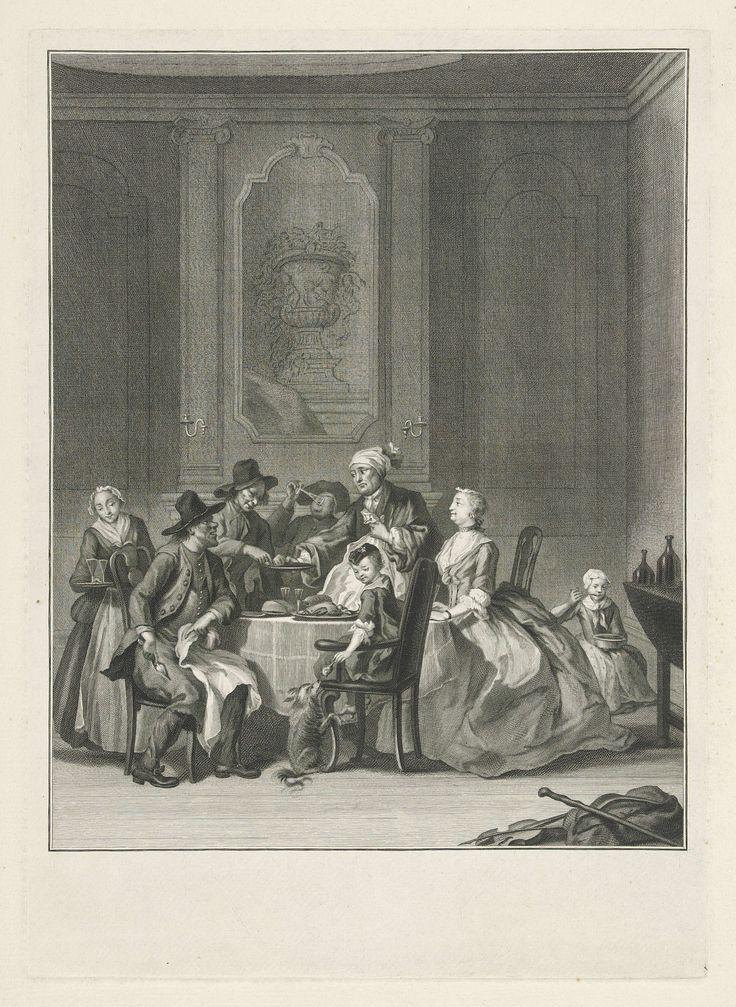 Jacob Houbraken | De stiefmoer, Jacob Houbraken, Cornelis Troost, 1760 - 1780 | Een eetkamer met figuren rond een tafel. Rechts een rijk aangeklede vrouw en kind. Tegenover hen drie sober geklede heren. Een man bedient hen. Rechts op de achtergrond een kind dat uit een pan eet. Links een bediende met glazen. Scène uit het blijspel De Stiefmoêr van Thomas Asselyn uit 1684, waarin het personage Jochem de arme familie van zijn tweede vrouw op bezoek krijgt. Zijn eigen kind moet de pot…