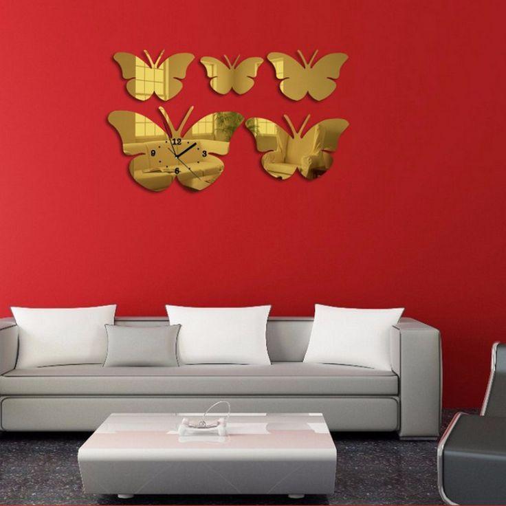 2016 fashion wall clock seiko quartz watch 3d stickers acrylic mirror diy clock modern home decoration butterfly living room