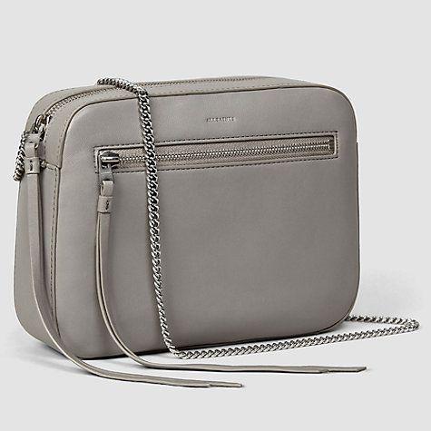 Buy AllSaints Fleur De Lis Leather Across Body Bag, Ash Grey Online at johnlewis.com