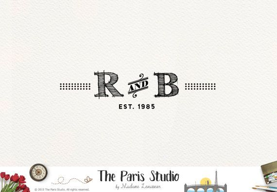 Custom Logo Design Vintage Logo Sketch Text Logo by TheParisStudio