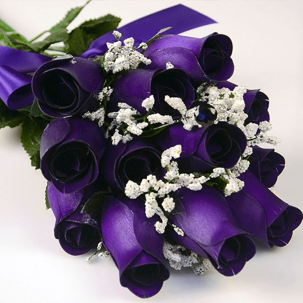 Deep Purple Wax Dipped Roses Bouquet