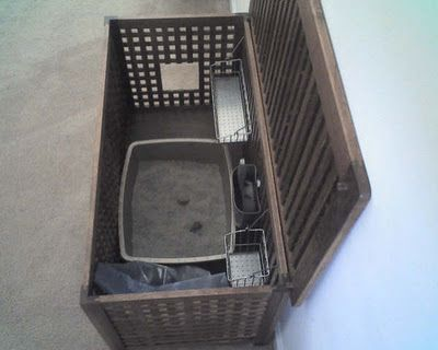 Concealed litter box in a storage bench. Complete with storage caddies. Absolutely brilliant.