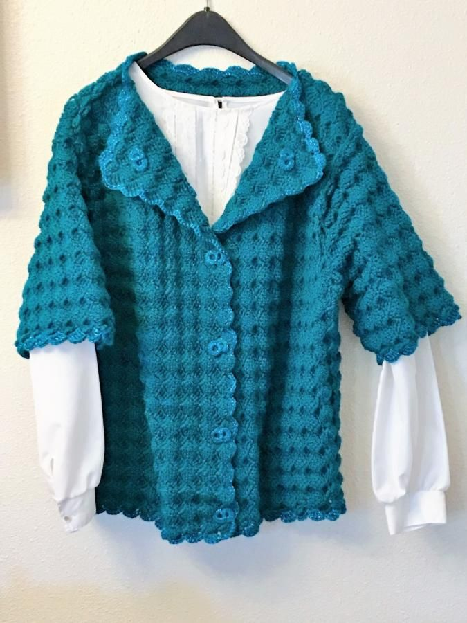 Ladies Teal Shell Stitch Cardigan and Skirt by AnnasCustomCrochet