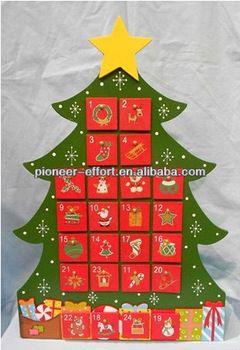 Christmas decoration wooden Christmas tree shaped advent calendar
