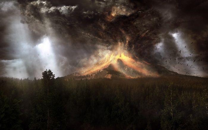 Forest Volcano Artwork Wallpaper Landscape Wallpaper