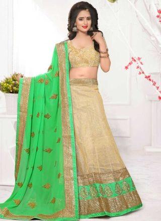 Beige Green Embroidery Work Net Chiffon Fancy Designer Wedding Lehenga Choli http://www.angelnx.com/Lehenga-Choli/Designer-Lehenga-Choli