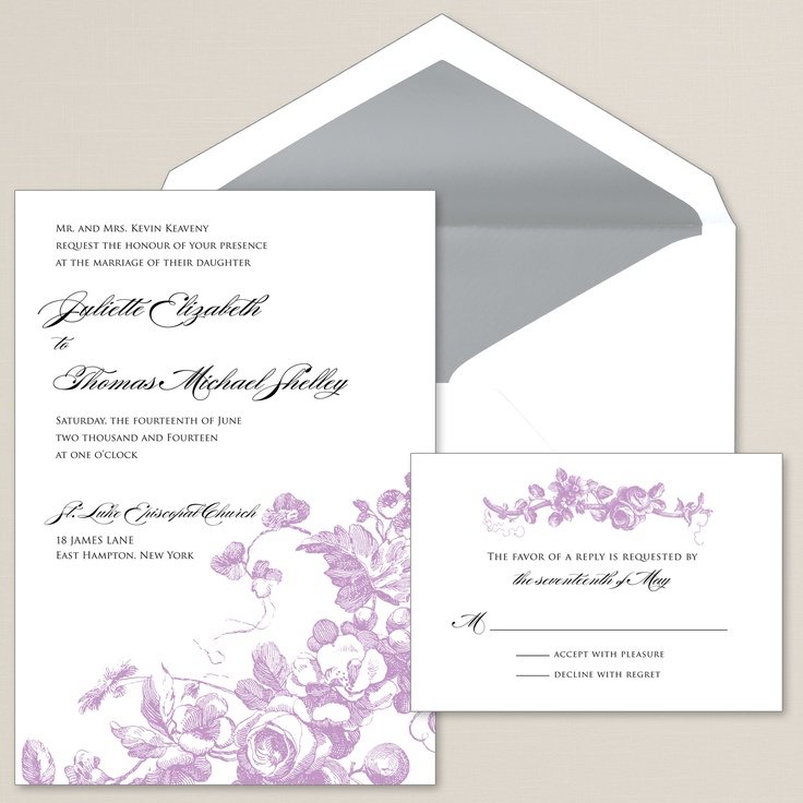 Antique Blossoms Wedding invite - or purple and grey