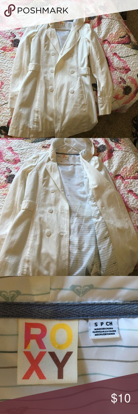 Roxy pea coat Solid white pea coat. Bought and never worn. Great for spring and fall time! Roxy Jackets & Coats Pea Coats
