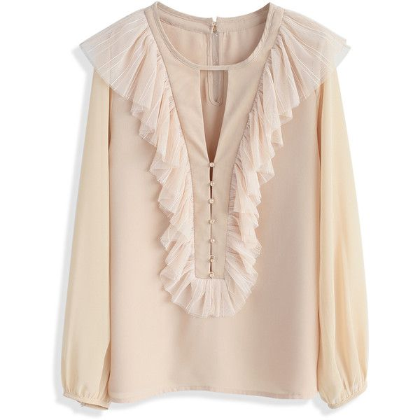 Chicwish Fluent in Ruffles Smock Top in Beige ($42) ❤ liked on Polyvore featuring tops, beige, smock top, ruffle top, flounce tops, pink top and frill top
