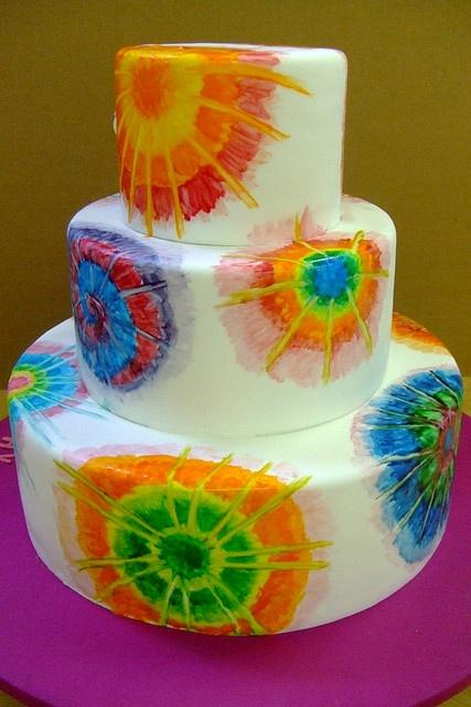 A tie dye cake fit for a tie dye wedding! by Brooke Weeber