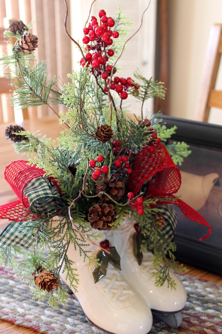 Christmas Centerpiece, Country Decor, Ceramic Skates, Beautiful Christmas Arrangement, Holiday Decor For Your Table -- FREE SHIPPING. $75.00, via Etsy.