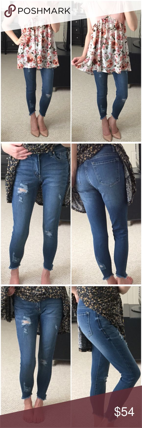 ▫Medium Wash Distressed Denim w/ Uneven Hem These are amazing and feel buttery soft on!   Fit like a dream and so stretchy and comfy! Fave customer brand. Medium wash denim with distressing and uneven frayed bottom hem! So unique and have great character. And easy to dress up or down! Don't see your size? Just ask...I might be able to get them! Mid-rise. Modeling 1/24 and I'm a 25. 54% cotton, 34% rayon, 10% polyester, 2% spandex. *Bundle 2+ items for discount. Jeans Skinny