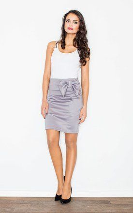 Grey Bow Pencil Skirt Product photo