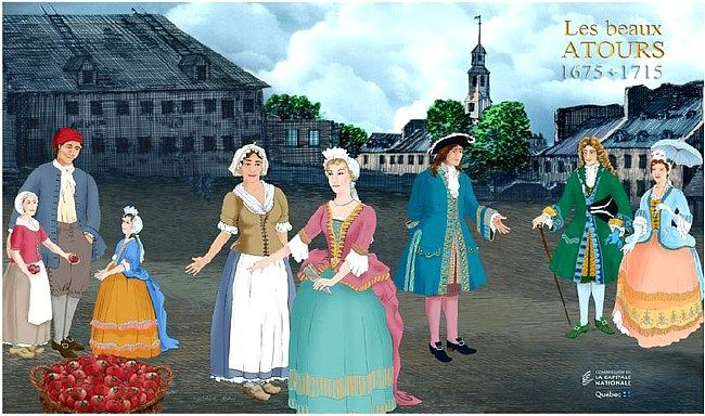 Modern day drawing of New France fashion. Habitants towards the right, bourgeoisie in the middle, and nobility on the left. #newfrance #historicalfashion