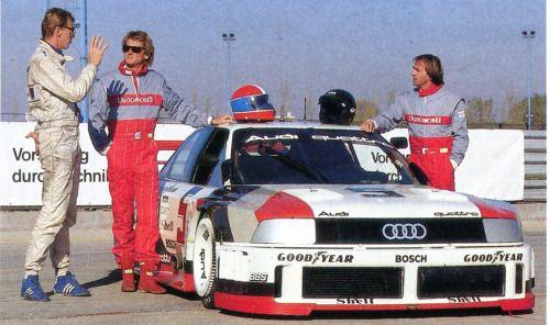 Audi 90 Quatro IMSA GTO - 5 cylindres turbo 2,2 litres jusqu'à 700 ch. - essai par J.Laffite & J.P. Jabouille - L'Automobile janvier 1990