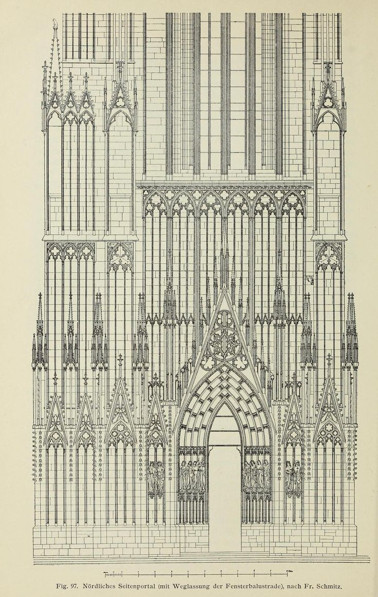 Partial elevation of the northern side portal of the cathedral, Strasbourg