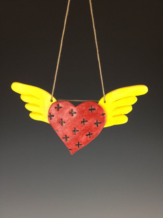Winged Heart Ceramic Ornament by mymindgarden on Etsy