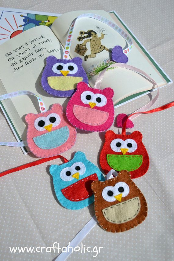Owl bookmark, felt owl, felt bookmark, many colors available, party favors, baby shower favors