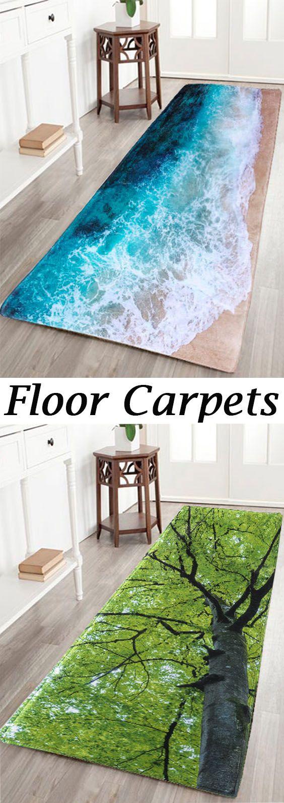 Sea Beach Print Flannel Skid Resistance Water Absorb Carpet