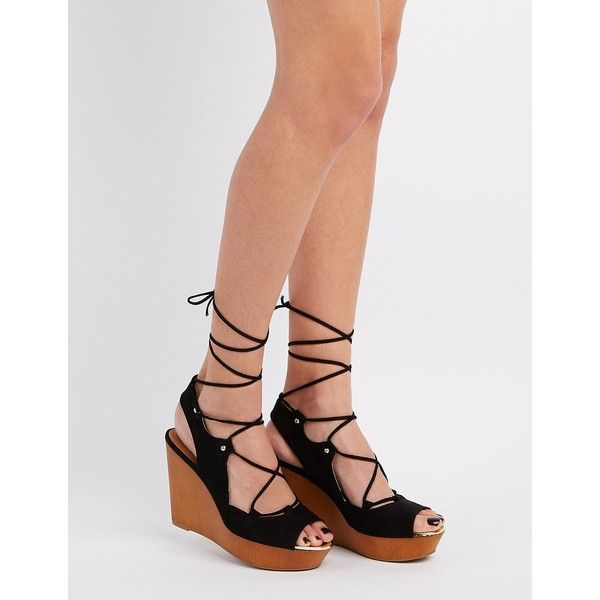 Qupid Lace-Up Wedge Sandals ($25) ❤ liked on Polyvore featuring shoes, sandals, black, black lace up sandals, slingback wedge sandals, slingback sandals, lace up platform sandals and wedge sandals