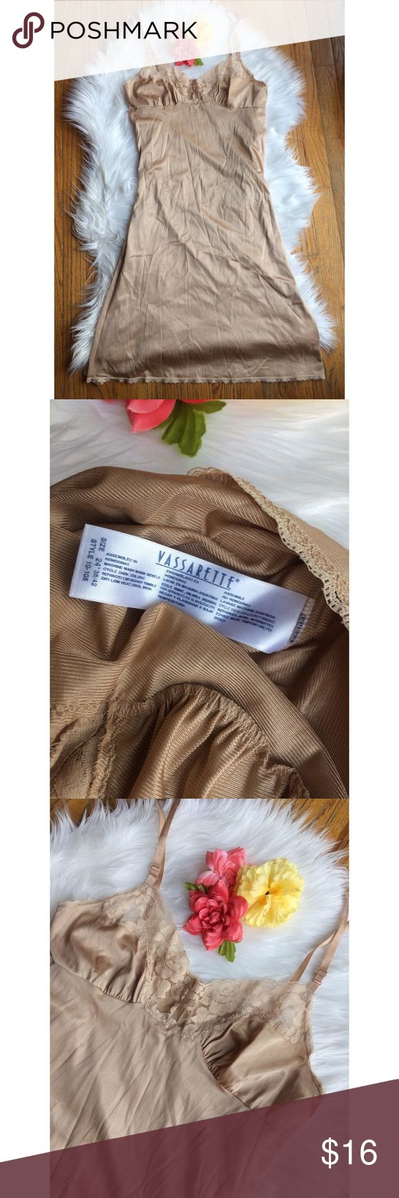 Vintage Taupe Lace Lingerie Slip 🍂 Beautiful vintage 90's lingerie slip by Vassarette! Features a classic nude/taupe color with floral lace accents. Has a longer midi-length fit, I'm 5'2 and it goes a little past my knees! Looks amazing paired with your favorite tee or turtleneck or for wearing to bed at night! Soft, silky feel. In great condition! Fits like a size small/medium :)  Measurements: Straps are adjustable! Total Length (bottom of strap to bottom hem)- 33.5 inches  Bust- 16.5…