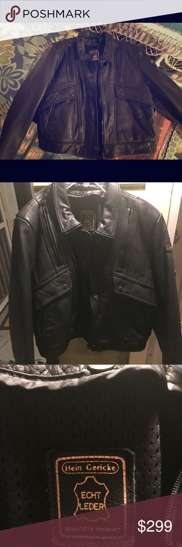 Hein Gericke black leather motorcycle jacket - new Worn only once, this beautiful Hein Gericke black leather motorcycle jacket is a must have statement piece for the fashionable female bikers closet. Don't ride a bike? Wear it anyway, on any occasion and make a statement!! incredibly well made, warm, insulated, with multiple zippered and snap pockets. Worn only once. In like new condition. Size 38, female. hein gericke Jackets & Coats